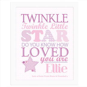 Personalised Twinkle Girls White Framed Poster Print