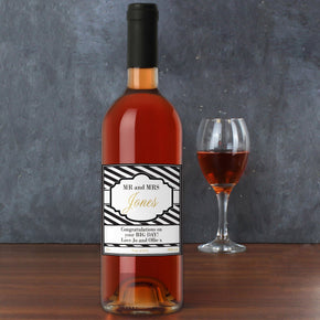 Personalised Art Deco Striped Rose Wine
