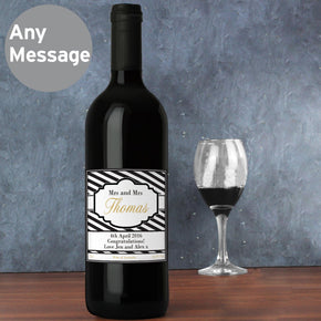 Personalised Art Deco Striped Wine