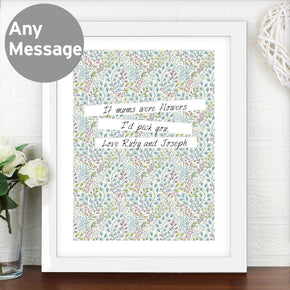 Personalised Botanical White Framed Poster Print