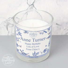 Personalised Country Diary Blue Blossom Scented Jar Candle