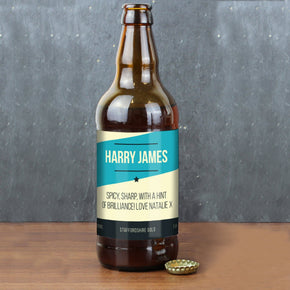 Personalised Blue Stripe Craft Beer