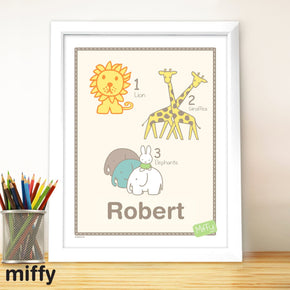 Personalised Miffy at the Zoo White Framed Poster Print