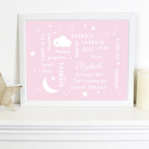Personalised Pink Twinkle Twinkle Typography White Framed Poster Print
