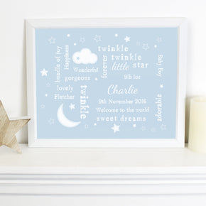 Personalised Blue Twinkle Twinkle Typography White Framed Poster Print