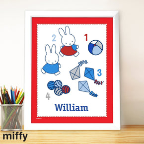 Personalised Miffy Let's Count White Framed Poster Print