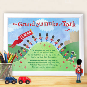Personalised Grand Old Duke of York White Framed Poster Print
