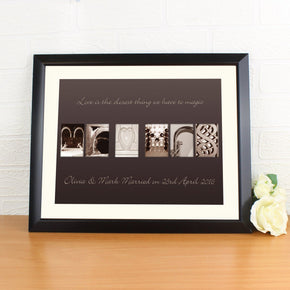 Personalised Mr & Mrs Affection Art Black Framed Poster Print