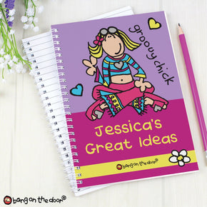 Personalised Bang on the Door Groovy Chick A5 Notebook