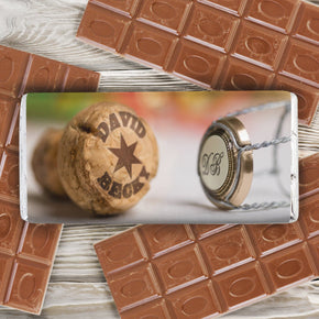 Personalised Champagne Cork Milk Chocolate Bar