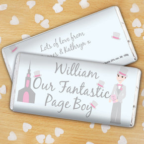 Personalised Fantastic Page Boy Milk Chocolate Bar