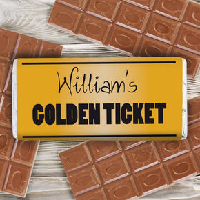 Personalised Golden Ticket Milk Chocolate Bar