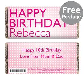 Personalised Happy Birthday Pink Dots Milk Chocolate Bar