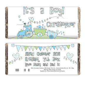 Personalised Whimsical Train Its a Boy Milk Chocolate Bar