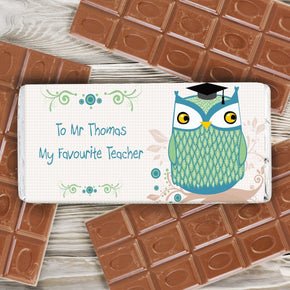 Personalised Mr Owl Teacher Milk Chocolate Bar