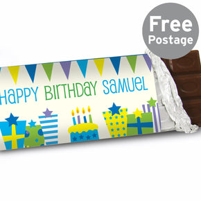 Personalised Blue Birthday Presents Milk Chocolate Bar