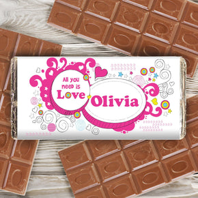 Personalised Groovy Doodle Love Milk Chocolate Bar