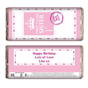 Personalised Pink 1st Class Milk Chocolate Bar