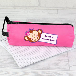 Personalised Monkey Pink Pencil Case