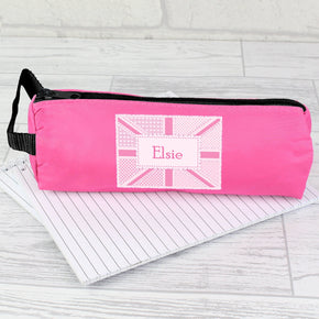 Personalised Pink Patchwork Union Jack Pencil Case