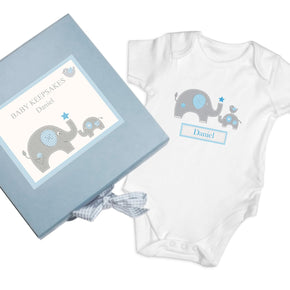 Personalised Blue Baby Elephant Gift Set - Baby Vest