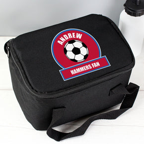 Personalised Claret and Blue Football Fan Lunch Bag