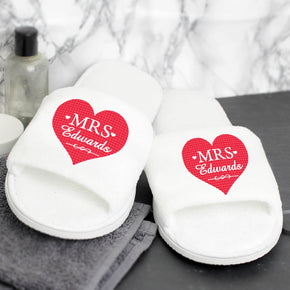 Personalised Mrs Velour Slippers