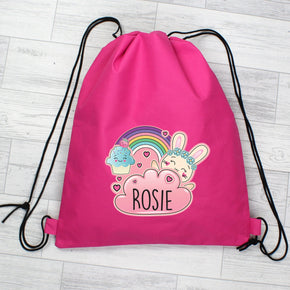 Personalised Cute Bunny Pink Swim & Kit Bag