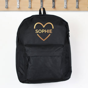 Personalised Gold Heart Black Backpack