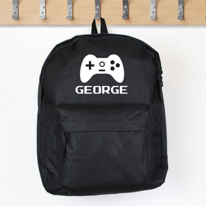 Personalised Gaming Black Backpack