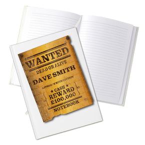 Personalised Wanted Hardback A5 Notebook
