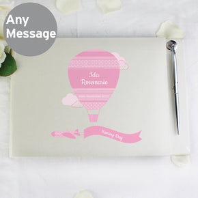 Personalised Up & Away Baby Girl Guest Book & Pen