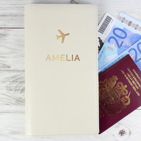 Personalised Gold Name Travel Document Holder