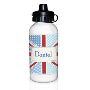 Personalised Patchwork Union Jack Drinks Bottle