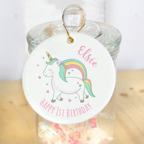 Personalised Baby Unicorn Round Decoration