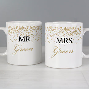 Personalised Gold Confetti Mug Set