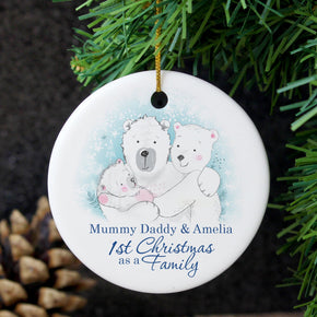 Personalised Polar Bear '1st Christmas As A Family 'Round Ceramic Decoration