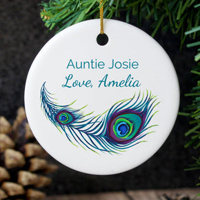Personalised Peacock Round Ceramic Decoration