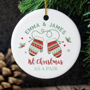 Personalised Couples Christmas Mittens Round Ceramic Decoration