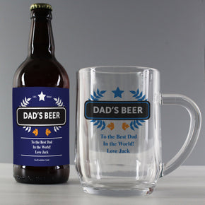 Personalised Blue Wheat Beer & Tankard Set