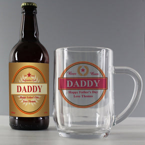 Personalised Gold Award Beer & Tankard Set