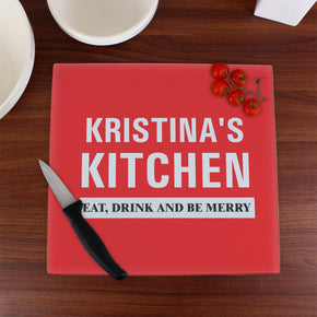 Personalised Kitchen Glass Chopping Board/Worktop Saver