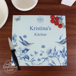 Personalised Country Diary Blue Blossom Glass Chopping Board/Worktop Saver