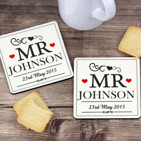 Personalised Mr & Mr Coaster Set