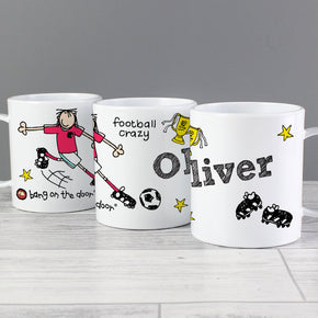 Personalised Football Crazy Plastic Mug