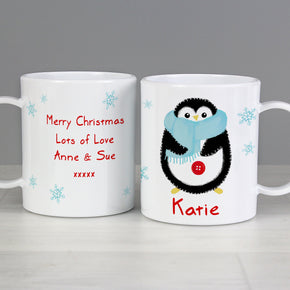 Personalised Felt Stitch Penguin Plastic Mug
