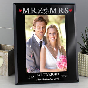 Personalised Bling Mr & Mrs Black Glass 5x7 Photo Frame