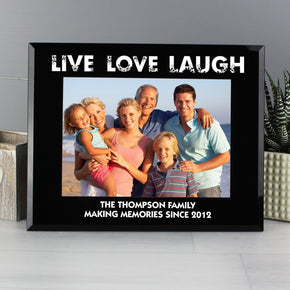 Personalised Live Love Laugh Black Glass 7x5 Photo Frame