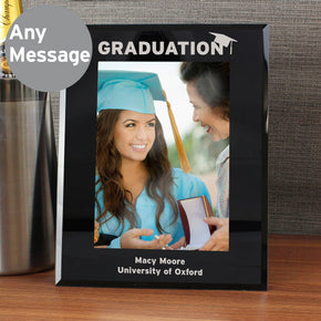 Personalised Black Glass Graduation Frame 5x7