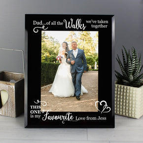 Personalised Of All the Walks... Wedding 5x7 Black Glass Photo Frame